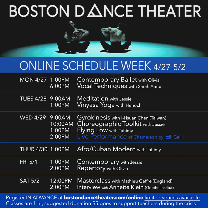 Boston Dance Theater Live Zoom Performance: Chameleon by Itzik Galili (BDT Co-Director)