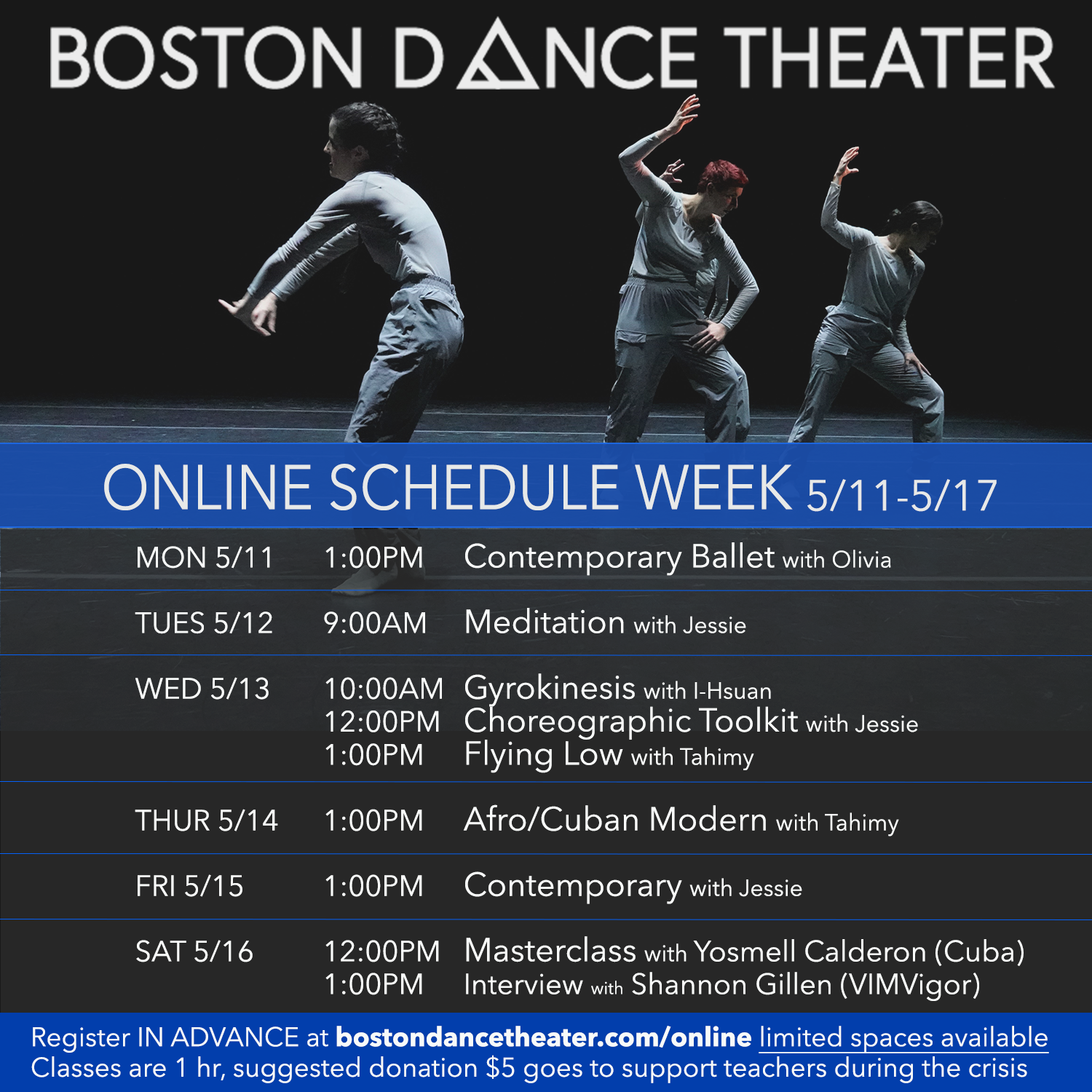 Masterclass with Yosmell Calderon (Cuba), hosted by Boston Dance Theater